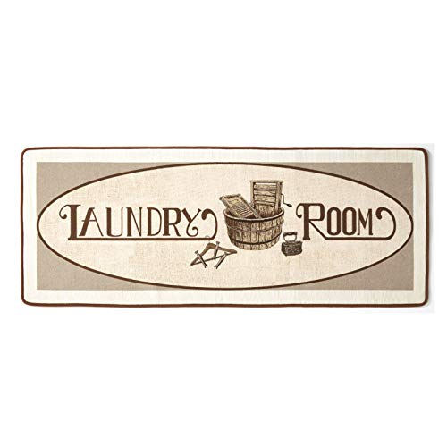 Vintage Design Laundry Room Runner Rug – Rustic Mudroom and Home Accent