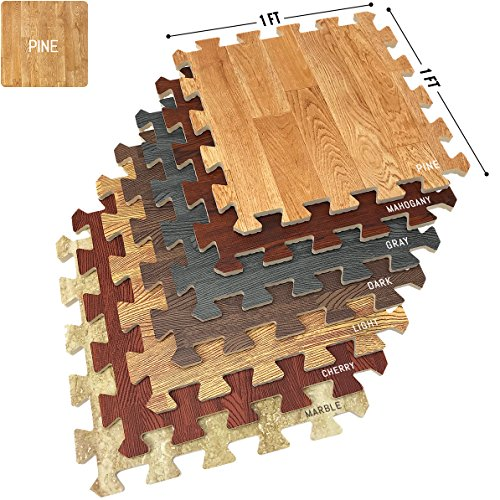 Home Office Playroom Basement Trade Show 9 Tiles, 9 Sq ft, Wood Grain – Sorbus Wood Grain Floor Mats Foam Interlocking Mats Each Tile 1 Square Foot 3/8-Inch Thick Flooring Wood Mat Tiles – Pine