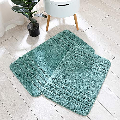 30×18 Inch/24X17 Inch Bath Rugs 2pcs Set Made of 100% Polyester Extra Soft and Non Slip Bathroom Mats Specialized in Machine Washable and Water Absorbent Shower Mat,Sky Blue …