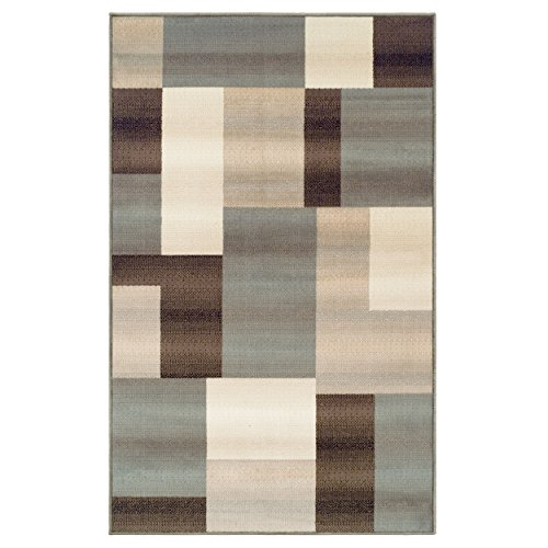 Superior Elegant Clifton Area Rug, Rectangular Tile Modern Pattern, 9′ x 12′, Light Blue