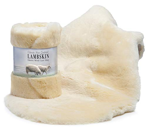 New Zealand Lambskin for Baby,100% Natural and Luxuriously Soft Shorn Wool, Soothing Comfort Year Round Size XL, by Desert Breeze Distributing