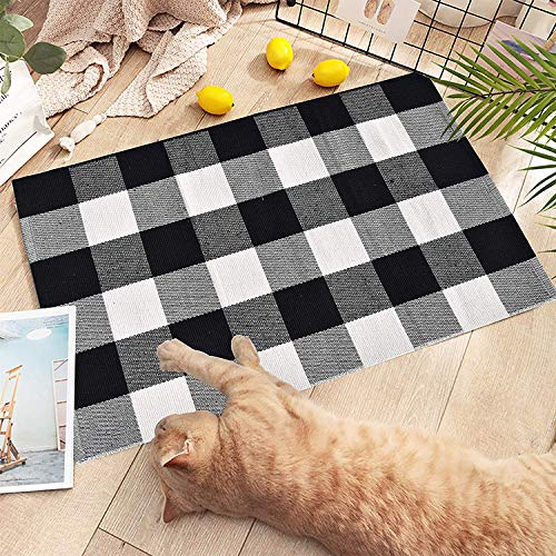 EARTHALL Cotton Buffalo Black and White Plaid Rugs 2'x3′, Hand-Woven Checkered Door Mat, Washable Outdoor Rug Farmhouse/Kitchen/Front Porch/Living room/Laundry Room/Bathroom/Bedroom 23.6″X35.4″