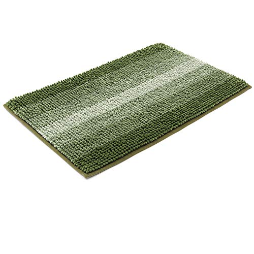 28×18 Inch Bath Rugs Made of 100% Polyester Extra Soft and Non Slip Bathroom Mats Specialized in Machine Washable and Water Absorbent Shower Mat,Green