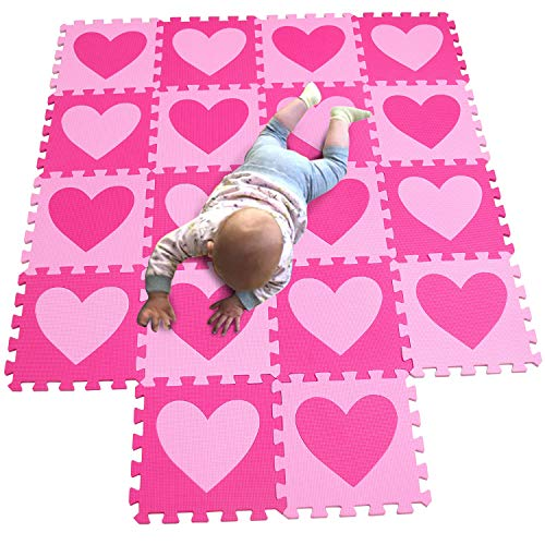 MQIAOHAM 18 pcs Love Pink-Rose Kid Play mat Puzzle Foam Game Kids Baby Crawling Soft Floor Gymnastics Toys Large P02703G18