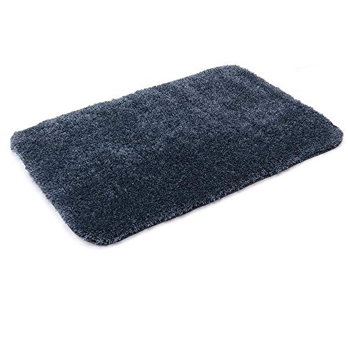COSYHOMEER 30X20 Inch Bathroom Shower Mat with Super Slim Polyester Fabric Anti Slippery Bath Rugs Which is Machine Washable and Water Absorbent Fuzzy Mat,Navy