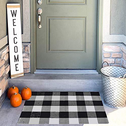 Buffalo Check Outdoor Rug35.4″x23.6″, LIFEI Farmhouse Doormat Buffalo Plaid Check Rug Black White Layered Double Door Mats Welcome Front Porch Decor for Front Door,Bedroom,Entryway,Kitchen