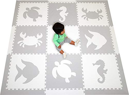 SoftTiles Sea Animals Interlocking Foam Play Mat with Sloped Borders. Soft Flooring for Playrooms and Nurseries- Large 6.5 x 6.5 ft.- Light Gray, White SCSEAWH