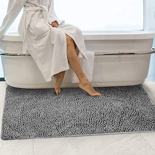 Secura Housewares Soft Microfiber Bathroom Rugs, 47 x 28 Inches Non Slip Bath Mat for Door, Bathroom & Bedroom with Water Absorbent, Machine Washable Gray