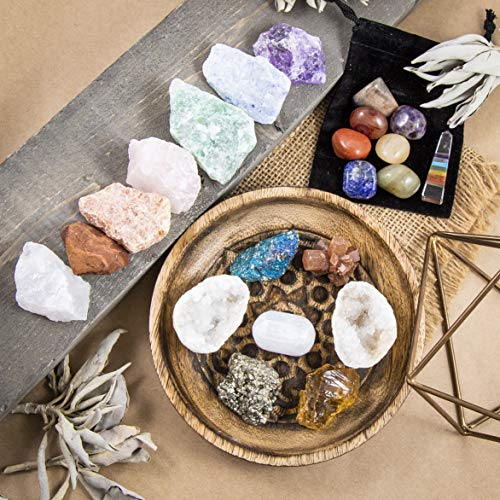 7 Tumbled Chakra Stones, 7 Raw Crystals, Peacock Ore, Crystal Geode, Pyrite, Honey Calcite, Aragonite, Selenite Stone + Bonus Chakra Tower – Beverly Oaks Premium Healing Crystals 21 Piece Kit