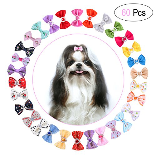 UEETEK 60PCS 30 Paris Cute Puppy Dog Small Bowknot Hair Bows with Rubber Bands Handmade Hair Accessories Bow Pet Grooming Products 60 Pcs,Cute Patterns