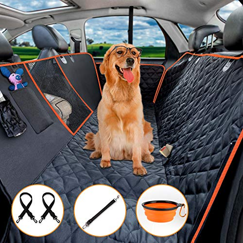 KeShi Dog Car Seat Cover, Car Seat Covers for Pet with Mesh Window, Heavy Duty Waterproof Pet Seat Cover Hammock Scratch Proof Nonslip Durable Soft Pet Back Seat Covers for Cars Trucks and SUVs