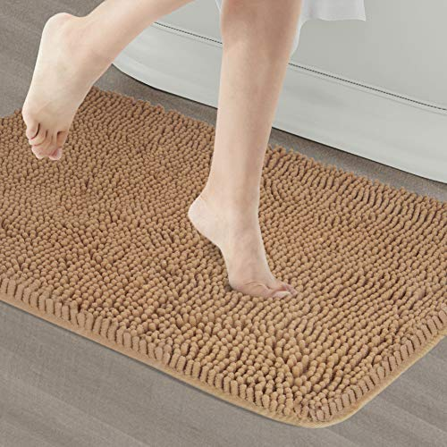 Secura Housewares Soft Microfiber Bathroom Rugs, 20 x 32 Inches Non Slip Bath Mat for Door, Bathroom & Bedroom with Water Absorbent, Machine Washable Brown