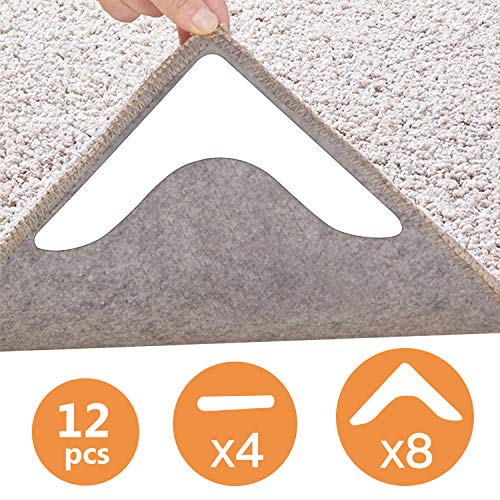 Rug Grippers, 12 pcs Double Sided Washable Removable Anti Curling Carpet Gripper Combination Keep Carpet Mat Corners Flat ,Non Slip Renewable Adhesive Rug Tape for Hardwood Floors and Tile White