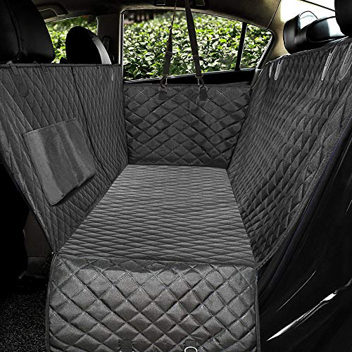 "Waterproof & Nonslip Diamond Pattern Dog Seat Cover Black Large 57""Wx60""L – Honest Luxury Quilted Dog Car Seat Covers with Side Flap Pet Backseat Cover for Cars, Trucks, and Suv's"