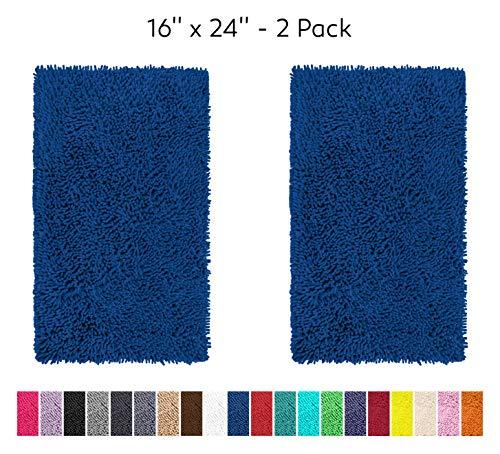 "LuxUrux Bathroom Rug Mat Set-Extra-Soft Plush Bath mat Shower Bathroom Rugs 16 x 24 inch Set,1"" Chenille Microfiber Material, Super Absorbent.Rectangular Mini Set, Blue"
