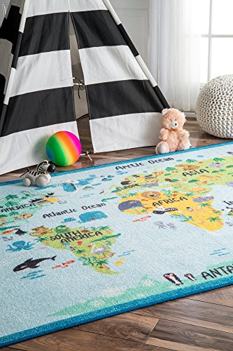 nuLOOM Animal World Map Kids Rug, 5′ x 7′ 5″, Baby Blue