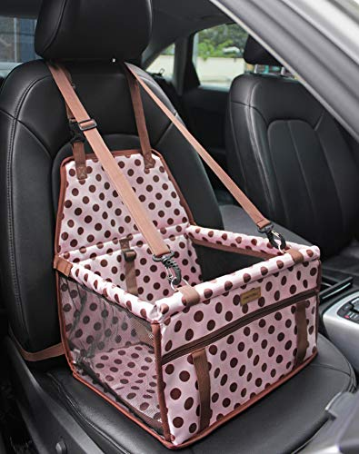 FANCYDELI-Dog-Car-Seat Puppy Car Seat Upgrade Deluxe Portable Pet Dog Booster Car Seat Waterproof with Clip-On Safety Leash and Double-Side Mat,Perfect for Small Pets Light Pink up to 15 lbs