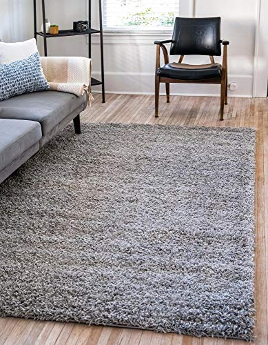 Unique Loom Solo Solid Shag Collection Modern Plush Cloud Gray Area Rug 2′ 2 x 3′ 0