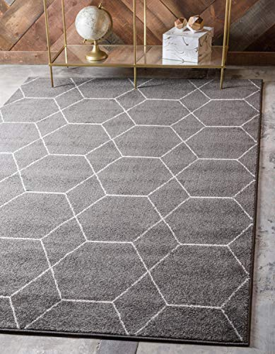 Unique Loom Trellis Frieze Collection Lattice Moroccan Geometric Modern Dark Gray Area Rug 8′ 0 x 10′ 0