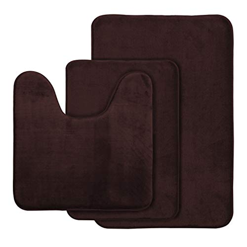 AOACreations Non Slip Memory Foam Bathroom Bath Mat Rug 3 Piece Set, Includes 1 Large 20″ x 32″, 1 Contour 20″ x 20″ and 1 Small 17″ x 24″ Dark Brown