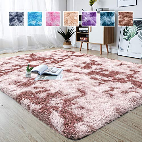 Junovo Modern Abstract Shaggy Area Rugs Fluffy Soft Bedroom Rug for Kids Nursery Girls Boys Ultra Comfy Shag Fur Carpets Nursery Room Living Room Furry Decor Rugs, 5 ft x 8 ft, RosyBrown