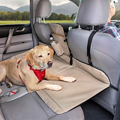 Kurgo Dog Backseat Bridge Car Extender | Seat Bridge for Dogs | Padded Pet Car Barrier | Reversible | Water Resistant | Universal Fit | Cup Holder & Pocket | Up to 100 lbs | Black / Hampton Sand Khaki