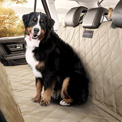 Dog and Cat Car Seat Cover/Hammock – Tan – Non-Slip Quilted Technology to Protect Seats in Cars, Trucks, SUVs and Vans from Stains and Hair – Waterproof and Machine Washable – PERFECT PET Seat Cover