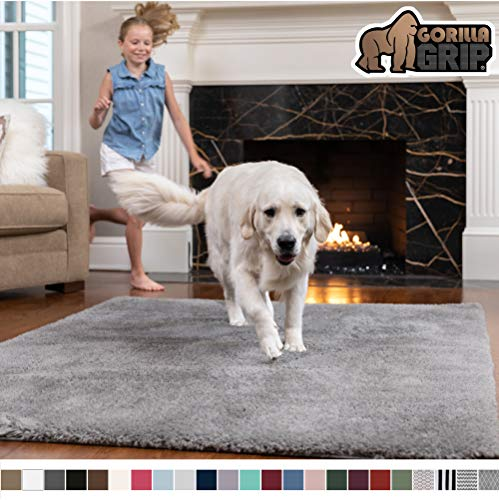 GORILLA GRIP Original Faux-Chinchilla Runner Rug, 2×8 Feet, Super Soft and Cozy High Pile Washable Carpet, Modern Runner Rugs for Floor, Luxury Carpet for Home, Nursery, Bed and Living Room, Dark Gray
