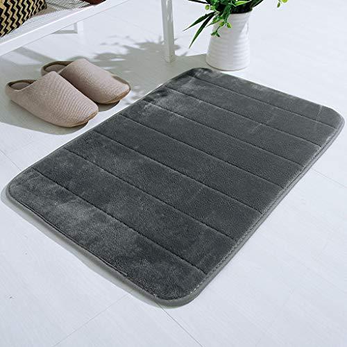 Lisingtool Memory Foam Bath Mat, Comfortable Soft, Absorbent Bath Bathroom Bedroom Floor Shower Rug Decor,17″X 24″ Gray