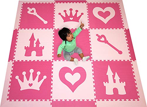 SoftTiles Princess Theme Foam Playmat | Princess Decor | Nontoxic Interlocking Floor Tiles for Girls Playrooms & Baby Nursery | Light Pink and Dark Pink- 6.5′ x 6.5 ft.- SCPRIPC