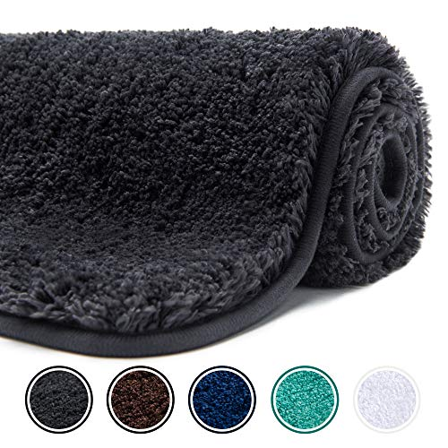 Poymecy Bathroom Rug Non-Slip Soft Water Absorbent Thick Large Shaggy Floor Mats,Machine Washable,Bath Mat,Bathroom Thick Plush Rugs for Shower Grey,32×20 Inches