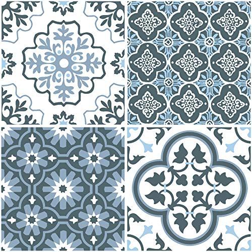 FloorPops FP2951 Myriad Peel & Stick Floor Tile, Blue