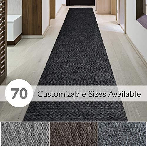 iCustomRug Spartan Weather Warrior Duty Indoor/Outdoor Utility Berber Loop Carpet Runner, Area Rugs, 3ft,4ft,6ft Widths 70 Custom Sizes with Natural Non-Slip Rubber Backing 3′ X 8′ in Black