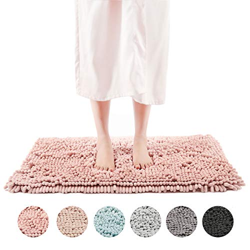 FRESHMINT Chenille Bath Rugs Extra Soft and Absorbent Microfiber Shag Rug, Non-Slip Runner Carpet for Tub Bathroom Shower Mat, Machine-Washable Durable Thick Area Rugs 20″ x 32″, Pink