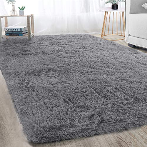Soft Modern Indoor Large Shaggy Rug for Bedroom Livingroom Dorm Kids Room Home Decorative, Non-slip Plush Fluffy Furry Fur Area Rugs Comfy Nursery Accent Floor Carpet 5×8 Feet, Grey