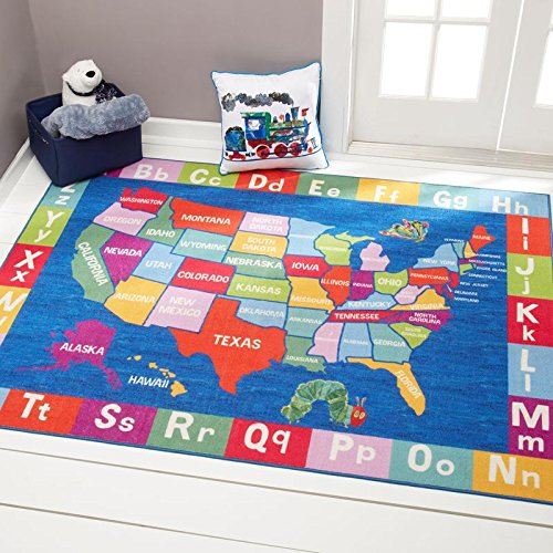 Home Dynamix Eric Carle Elementary USA Map Educational Kids Area Rug 35″x51″ Blue/Red