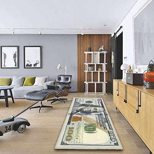 Adarl New Rugs One Hundred Dollar $100 Bill Print New Benjamin Non-Slip Area Rug Runner for Living Room Bedroom – 71x24inch