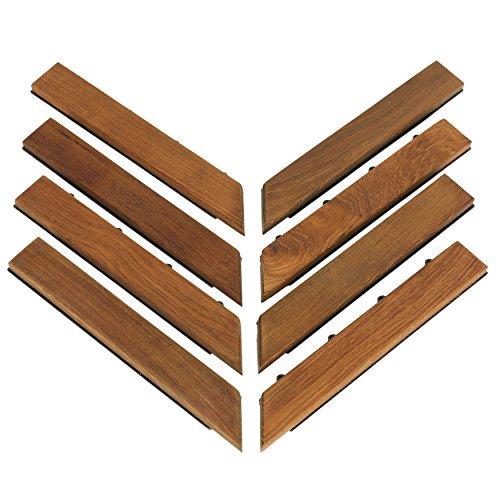Bare Decor EZ-Floor Corner Trim Piece Interlocking Flooring in Solid Teak Wood Set of 8, Oiled Finish