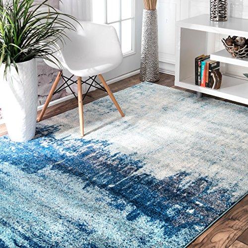 nuLOOM Alayna Abstract Area Rug, 5′ x 7′ 5″, Blue