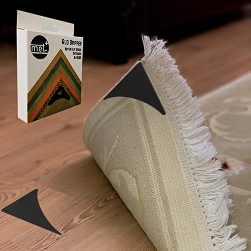 Met+ Rug Gripper – 8 PCS Triangle Hook and Loop Anti-Curl Anti-Slip Rug Gripper for Hardwood Floors and Carpet, Let Your Rug Stay Stable w/Out Any Damage
