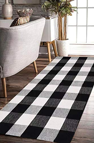 EARTHALL Buffalo Plaid Rug Black and White Rug Cotton, Hand-Woven Buffalo Check Rug Runner, Hallway Runner, Washable Plaid Outdoor Rug Entryway/Front Porch/Kitchen/Bathroom/Bedroom 23.6″x51.2″