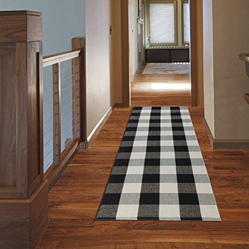 NANTA Cotton Buffalo Plaid Check Runner Rug 23.6″ x 70.8″ 2′ x 6′ Black and White Checkered Washable Carpet for Kitchen/Laundry/Bedroom/Farmhouse