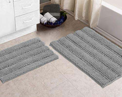 Striped Bath Rugs Set for Indoor/Kitchen Rectangular Set, Light Grey – Zebrux Non Slip Thick Shaggy Chenille Bathroom Rugs, Bath Mats for Bathroom Extra Soft and Absorbent
