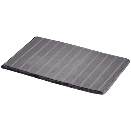 AmazonBasics Striped Memory Foam Bath Mat – Small, Grey