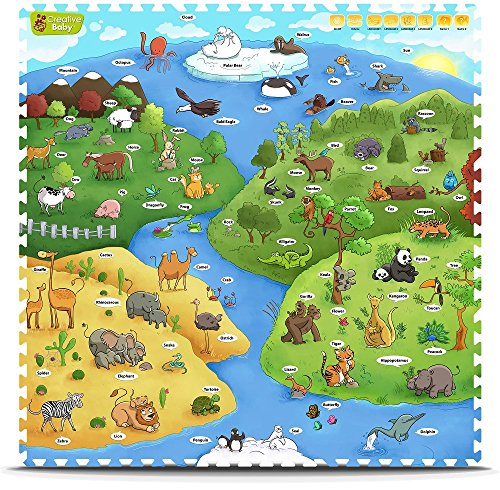 Creative Baby 9 Piece Interactive Playmat i-Mat, My Animal World