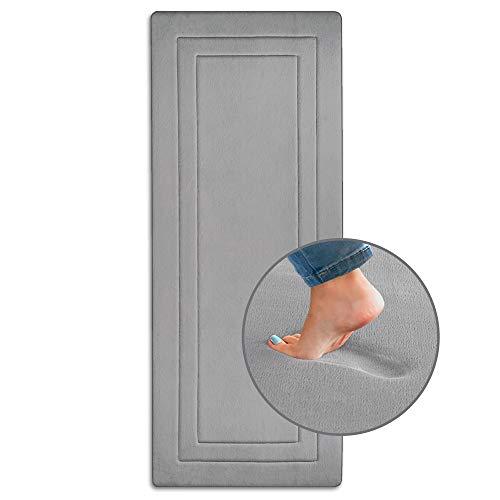 Extra-Long Bath Mat for Bathroom, Bedroom, and Laundry Room Floor Gray – 24″ x 60″, Non-Slip Kitchen Runner – Ellendi Ultima Comfort Memory Foam Runner Rug