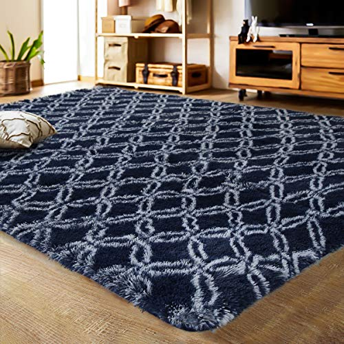 LOCHAS Luxury Velvet Shag Area Rug Mordern Indoor Plush Fluffy Rugs, Extra Soft and Comfy Carpet, Geometric Moroccan Rugs for Bedroom Living Room Girls Kids Nursery 5×8 Feet, Dark Blue/White, HS8