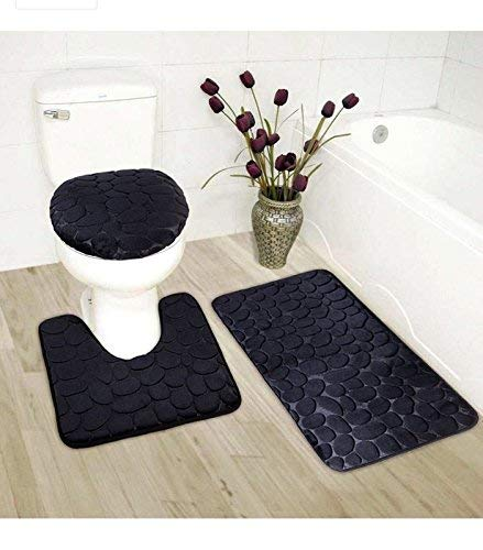 Luxury Home Collection 3 Piece Stone Embossed Solid Color Memory Foam Soft Bathroom Rug Set Non-Slip with Rubber Backing Black
