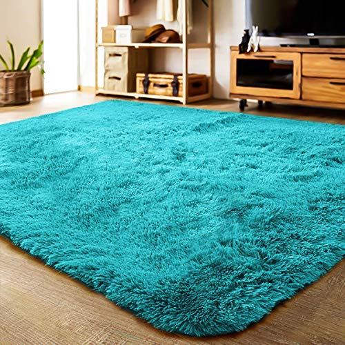 LOCHAS Ultra Soft Indoor Area Rug Shaggy Bedroom Living Room Carpets for Kids Nursery Room, 5.3 x 7.5 Feet Blue