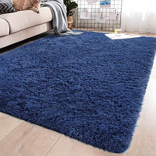 YJ.GWL Soft Indigo Shaggy Area Rugs for Girls Room Bedroom Non-Slip Kids Carpet Baby Nursery Decor Fluffy Modern Rug 5.3 x 7.6 Feet